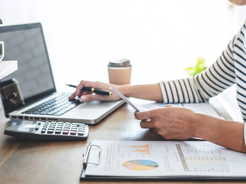 Female accountant calculations